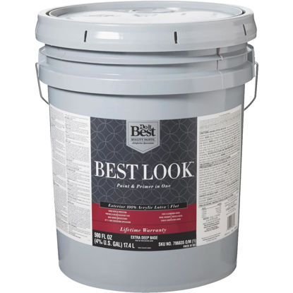 Picture of Best Look 100% Acrylic Latex Paint & Primer In One Flat Exterior House Paint, Exra Deep Base, 5 Gal.