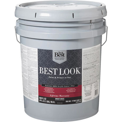 Picture of Best Look 100% Acrylic Latex Paint & Primer In One Flat Exterior House Paint, Bright White, 5 Gal.