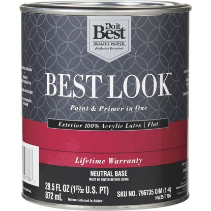 Picture of Best Look 100% Acrylic Latex Paint & Primer In One Flat Exterior House Paint, Neutral Base, 1 Qt.