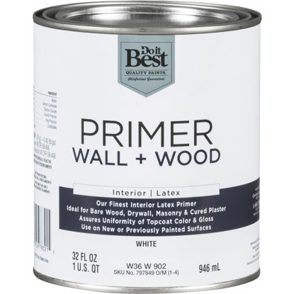 Picture of Do it Best Interior Latex Wall and Wood Primer, White, 1 Qt.