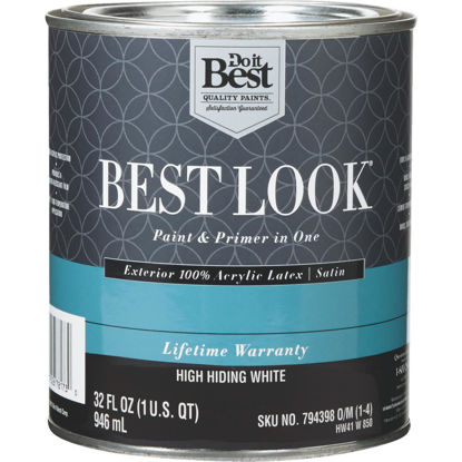 Picture of Best Look 100% Acrylic Latex Paint & Primer In One Satin Exterior House Paint, High Hiding White, 1 Qt.
