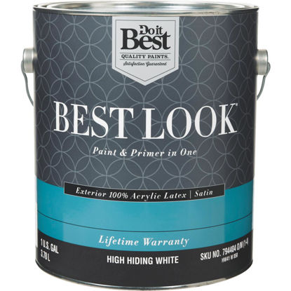 Picture of Best Look 100% Acrylic Latex Paint & Primer In One Satin Exterior House Paint, High Hiding White, 1 Gal.