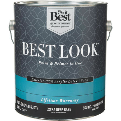 Picture of Best Look 100% Acrylic Latex Paint & Primer In One Satin Exterior House Paint, Extra Deep Base, 1 Gal.