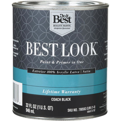 Picture of Best Look 100% Acrylic Latex Paint & Primer In One Satin Exterior House Paint, Coach Black, 1 Qt.