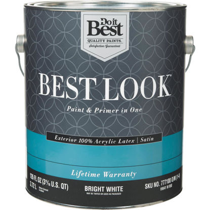 Picture of Best Look 100% Acrylic Latex Paint & Primer In One Satin Exterior House Paint, Bright White, 1 Gal.