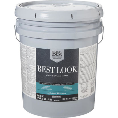Picture of Best Look 100% Acrylic Latex Paint & Primer In One Satin Exterior House Paint, Bright White, 5 Gal.