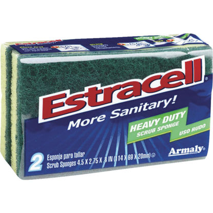 Picture of Armaly Estracell 4.5 In. x 2.7 In. Yellow & Green Heavy Duty Scrub Heavy Duty Sponge (2-Count)
