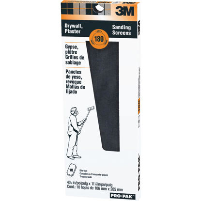 Picture of 3M ProPak 180 Grit 4-3/16 In. x 11-1/4 In. Precut Drywall Sanding Screen (10 Pack)