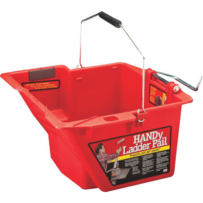 Picture of HANDy Ladder Pail 1.5 Gal. Gray Painter's Bucket with Fixed Ladder Bracket And Magnetic Brush Holder