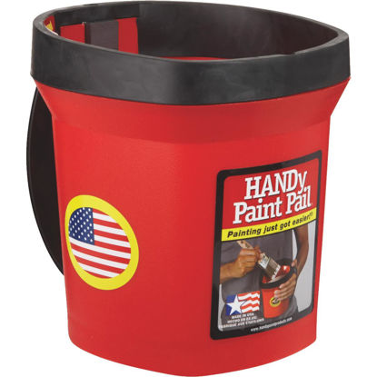 Picture of HANDy Paint Pail 1 Qt. Red Painter's Bucket w/Adjustable Strap And Magnetic Brush Holder