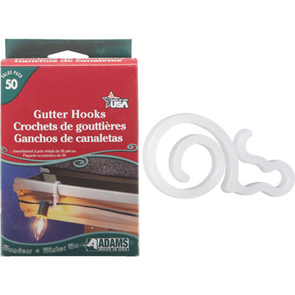 Picture of Adams White Gutter Light Clips (50-Pack)