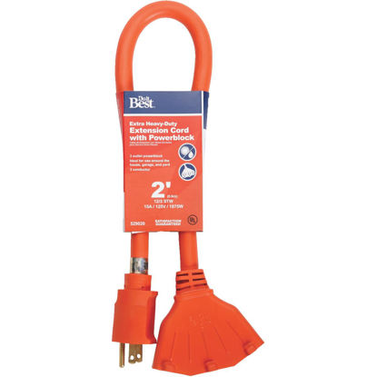 Picture of Do it Best 2 Ft. 12/3 Extension Cord with Powerblock