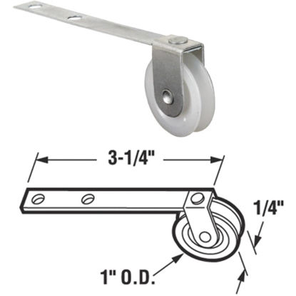 Picture of Slide-Co 1 In. x 1/4 In. Straight Spring Tension Screen Door Roller Assembly with Center Groove (2-Count)