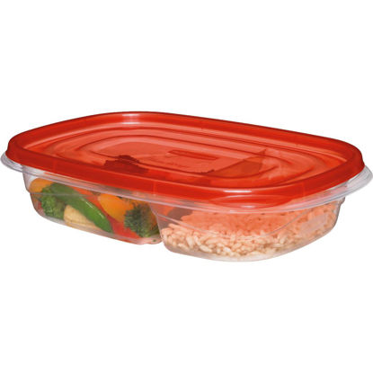 Picture of Rubbermaid 3.7 C. Clear Square Divided Food Storage Container with Lids (3-Pack)