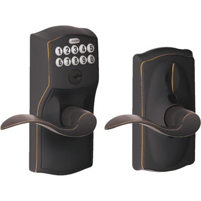 Picture of Schlage Camelot Lever Aged Bronze Electronic Keypad Entry Lock