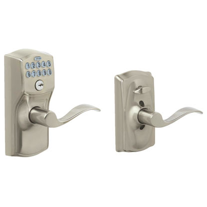 Picture of Schlage Camelot Lever Satin Nickle Electronic Keypad Entry Lock