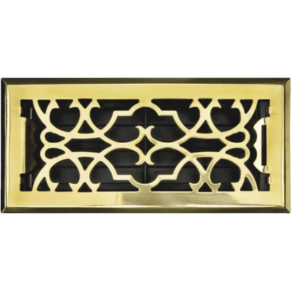 Picture of Accord Victorian 4 In. x 10 In. Polished Solid Brass Steel Floor Register