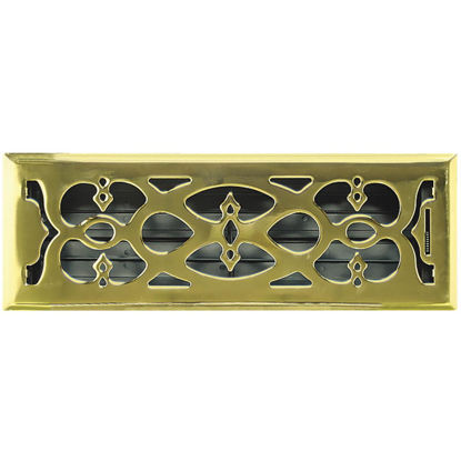 Picture of Accord Victorian 4 In. x 12 In. Plated Polished Brass Steel Floor Register
