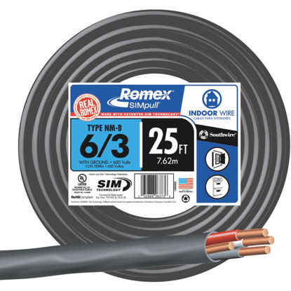 Picture of Romex 25 Ft. 6-3 Stranded Black NMW/G Wire