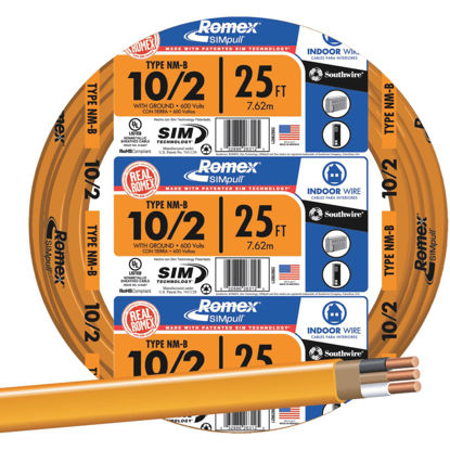 Picture of Romex 25 Ft. 10-2 Solid Orange NMW/G Wire
