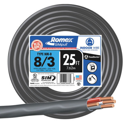 Picture of Romex 25 Ft. 8-3 Solid Black NMW/G Wire