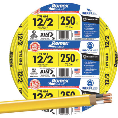 Picture of Romex 250 Ft. 12-2 Solid Yellow NMW/G Wire