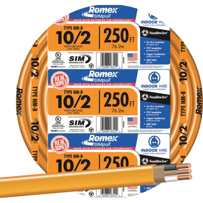 Picture of Romex 250 Ft. 10-2 Solid Orange NMW/G Wire