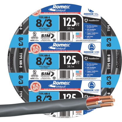 Picture of Romex 125 Ft. 8-3 Solid Black NMW/G Wire