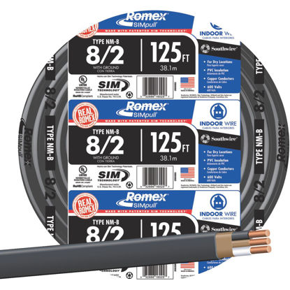 Picture of Romex 125 Ft. 8-2 Solid Black NMW/G Wire