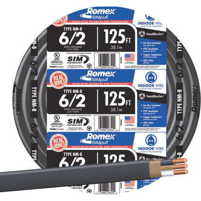 Picture of Romex 125 Ft. 6-2 Solid Black NMW/G Wire