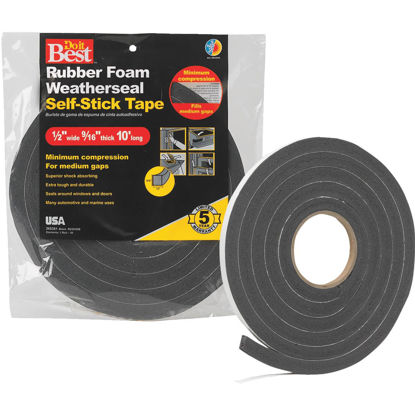 "Picture of Do it Best 1/2"" W x 9/16"" T x 10' L Black Foam Weatherstrip Tape"