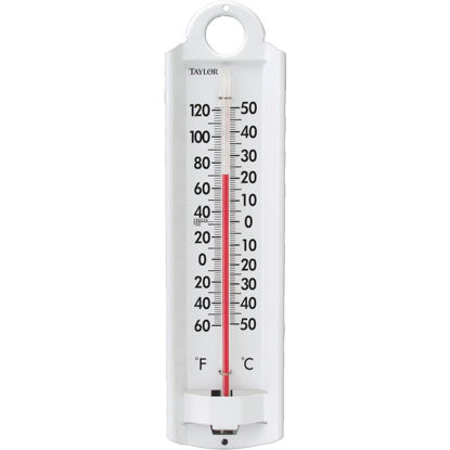 "Picture of Taylor 2-1/4"" W x 8-7/8"" H Aluminum Tube Indoor & Outdoor Thermometer"