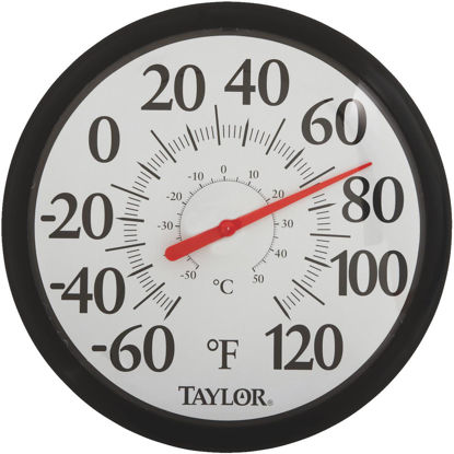 "Picture of Taylor 13-1/2"" Fahrenheit and Celsius -60 To 120 F, -50 To 50 C Outdoor Wall Thermometer"