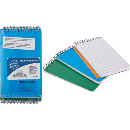 Picture of Smart Savers 3 In. x 5 In. White 50-Sheet Top Spiral Bound Memo Pad (3-Pack)