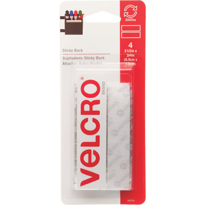 Picture of VELCRO Brand 3/4 In. x 3-1/2 In. White Sticky Back Hook & Loop Strips (4 Ct.)