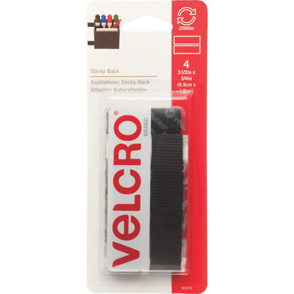 Picture of VELCRO Brand 3/4 In. x 3-1/2 In. Black Sticky Back Hook & Loop Strips (4 Ct.)