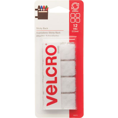 Picture of VELCRO Brand 7/8 In. White Hook & Loop Square (12 Ct.)
