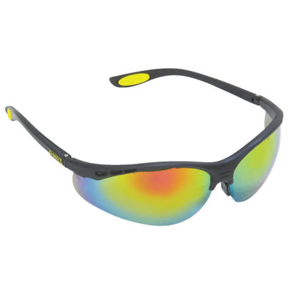 Picture of DeWalt Reinforcer Black/Yellow Frame Safety Glasses with Fire Lenses