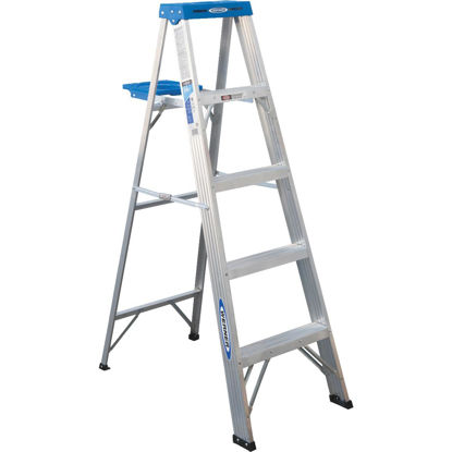 Picture of Werner 5 Ft. Aluminum Step Ladder with 250 Lb. Load Capacity Type l Ladder Rating