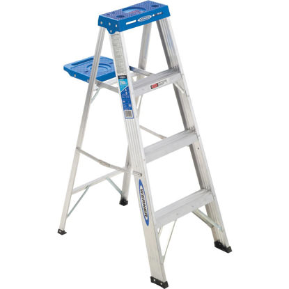 Picture of Werner 4 Ft. Aluminum Step Ladder with 250 Lb. Load Capacity Type I Ladder Rating