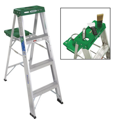 Picture of Werner 4 Ft. Aluminum Step Ladder with 225 Lb. Load Capacity Type II Ladder Rating