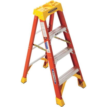 Picture of Werner 4 Ft. Fiberglass Step Ladder with 300 Lb. Load Capacity Type IA Ladder Rating