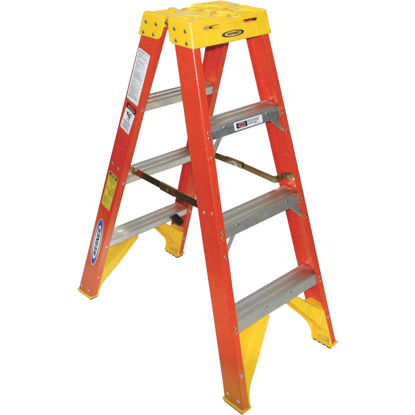 Picture of Werner 4 Ft. Fiberglass Twin Step Step Ladder with 300 Lb. Load Capacity Type IA Ladder Rating