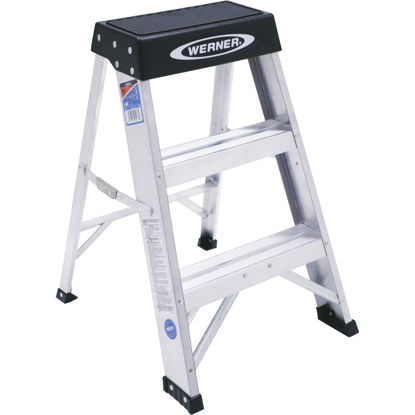 Picture of Werner 2 Ft. Aluminum Step Stool with 300 Lb. Load Capacity Type IA Ladder Rating