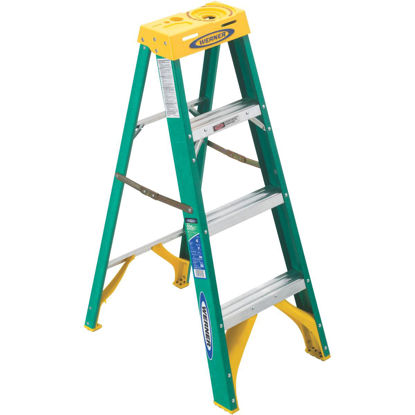 Picture of Werner 4 Ft. Fiberglass Step Ladder with 225 Lb. Load Capacity Type II Ladder Rating