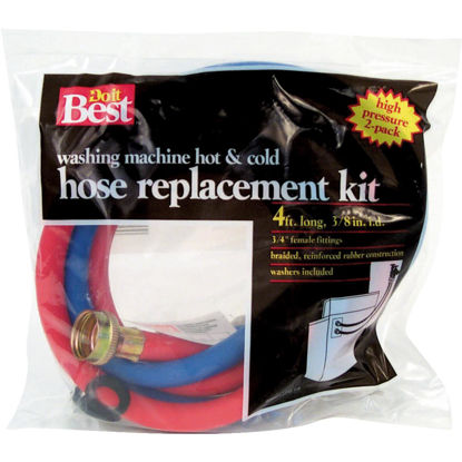 Picture of Do it Best 3/8 In. x 4 Ft. ReReinforced EPDM Rubber Washing Machine Hose (2-Pack)