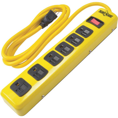 Picture of Yellow Jacket 6-Outlet Yellow Metal Power Strip with 6 Ft. Cord