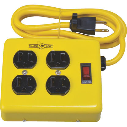 Picture of Yellow Jacket 4-Outlet Yellow Metal Power Strip with 4 Ft. Cord