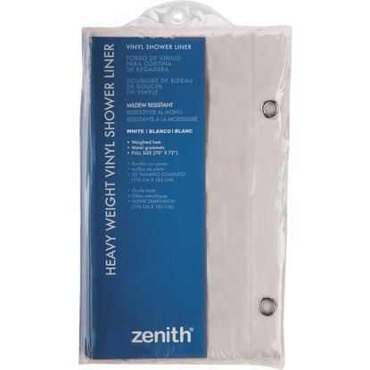 Picture of Zenith 70 In. x 72 In. White Medium Gauge PEVA Shower Curtain Liner
