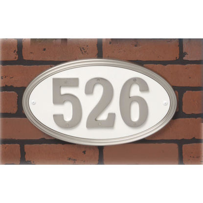 Picture of Hy-Ko Prestige Series Plastic Oval Satin Nickel Address Plate